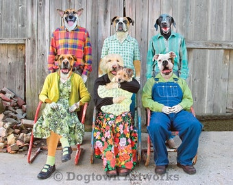 Kinfolk, large original photograph of boxer dogs and black lab dogs wearing clothes in family portrait