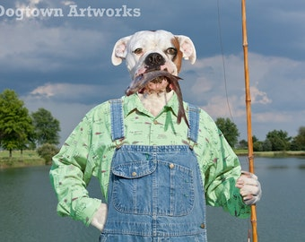 Catch of the Day, large original photograph of white boxer dog wearing overalls with a fish in his muzzle
