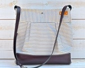 BEST SELLER Diaper bag Grape / Purple  Leather  / Messenger bag / Waterproof STOCKHOLM Gray and ecru nautical stripe