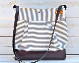 BEST SELLER Diaper bag Grape / Purple  Leather  / Messenger bag / Waterproof STOCKHOLM Gray and ecru nautical stripe