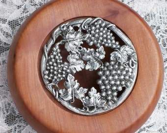 Hand turned bowl with lid. Tasmanian Myrtle pot pourri bowl. Vine and grapes pewter lid.
