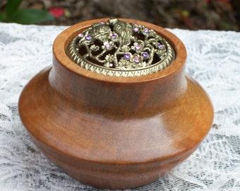 Timber bowl. Handturned rose butternut pot pourri bowl.  Pewter birds on blossom branches lid.