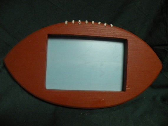Handcrafted Wooden Football Shaped Frame By Dansplugsandlures