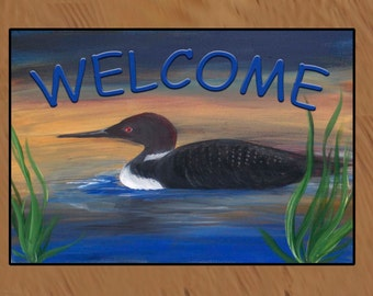 Welcome  Loon Lake indoor-outdoor Floor Mat. Available in 4 sizes