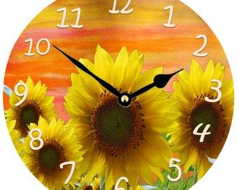 "Sunset Sunflowers wall clock - large 11"" round"