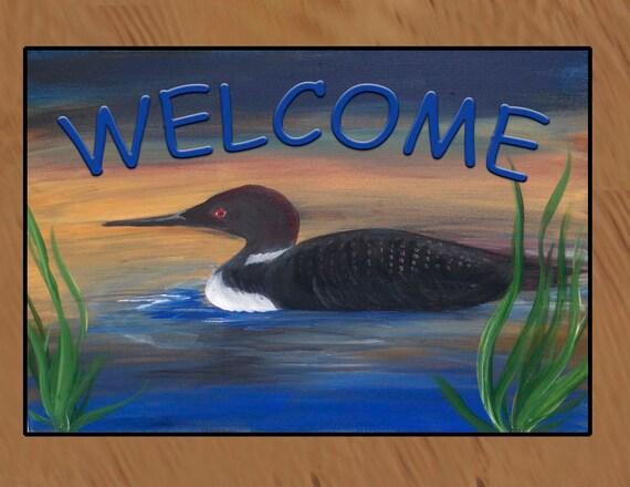 Welcome Loon Lake Indoor Outdoor Floor Mat Available In 4