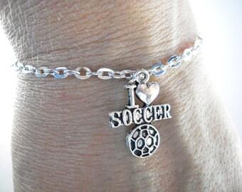 Soccer bracelet, I love soccer chain charm bracelet, soccer fan, coach or player gift