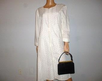 Vintage 40's - Black - Lizard Skin - Faux Turquoise Bead Embellished- Gold Tone Metal Accents - Handbag - Purse