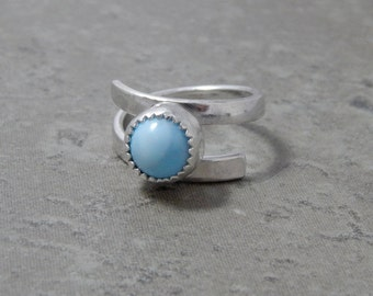Sterling Silver and Larimar Wrap Ring Size 7