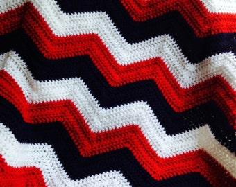new chevron zig zag ripple baby blanket afghan wrap crochet wheelchair stripes VANNA WHITE red blue yarn patriotic military handmade in USA