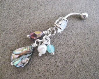 Belly Button Jewelry Ring- Abalone Real Seashell Shell Cluster Beach Mermaid Pearl Opal Bead Beaded Long Charm Navel Piercing Bar Barbell