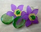 Purple Plumeria Flower Earrings, Purple and Green Floral Earrings, Swarovski Crystal Earrings, Floral Earrings, Flower Earrings, Frangipani