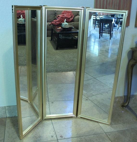 Vintage Brass Tri Fold Hanging Mirror 4 Panel Mirror Triptych