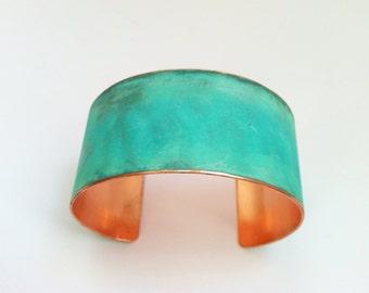 """The Original Patina Cuff - Green Verdigris - 1.25"""" Copper Cuff"""