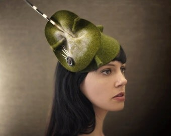 On Sale - Olive Green Sculptural Felt Hat - Dangerous Attraction Series