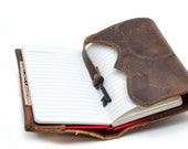 Refillable Leather Notebook - Moleskine Cover - Field Notes Journal - Distressed Leather - IN STOCK
