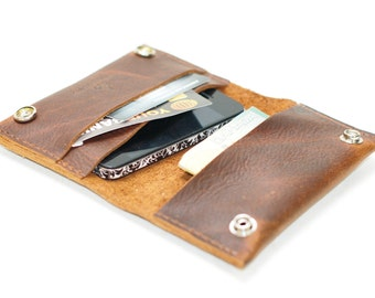 Aged Leather Samsung Galaxy Case and Wallet Pouch - Distressed Men's Wallet