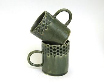 set of 2 hand built porcelain cups  ...   demitasse