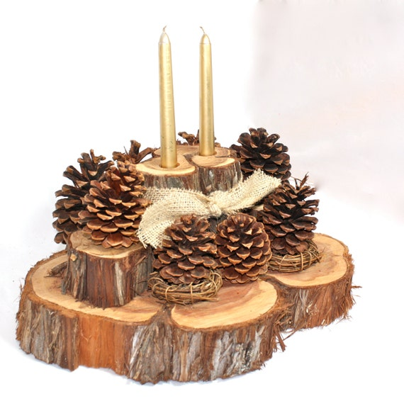 Centerpiece with candles rustic cedar slices by
