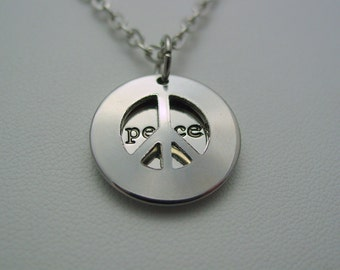 Peace Over Peace Double Peace Sign Hidden Necklace Peace Love Hippie Boho Style Necklace
