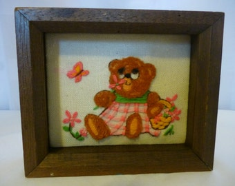 Vintage Framed Embroidered Teddy Bear Picture