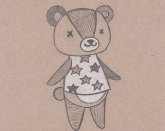 Animal Crossing Drawing - Stitches. Animal Crossing Art. Bear Cub. Custom Animal Crossing Gift. Happy Home Designer / New Leaf ACNL. Kawaii