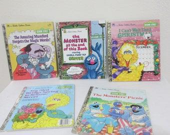 Sesame Street Little Golden Books Set of 5 Including Can't Wait for Christmas