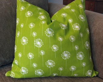 Decorative Pillow Covers,  ONE 18 x 18, Lime Green and White Cotton Duck, Zipper Closure