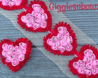 Beautiful PiNK/ReD SHaBBY CHiFFoN HEART Appliques / Set Of 5 / For Baby Headbands Hair Clips Scrap booking 3 Inch Size.