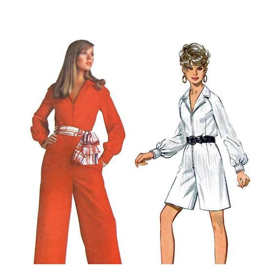 Womens Jumpsuit Pattern Butterick 5324 Zipper Full Length or Romper Bust 32 1/2 Vintage 1960s Pattern