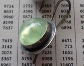 Prehnite & Sterling Silver Earrings, Luminous Green Stone Candy Earrings, Modern Urban Charcoal Handwrought Metalsmith Earrings