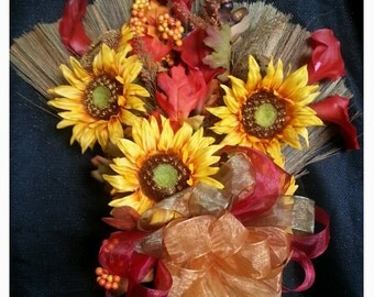 Fall Harvest Theme Wedding Broom, Jumping Broom, Fall Broom, Decorative Broom,Sunflower Broom