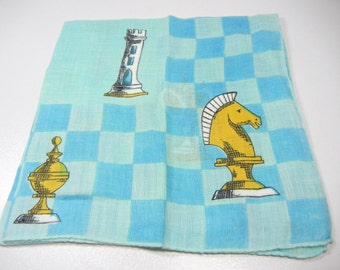 Chess Hankie / Erin O'Dell vintage Hanky with chess pieces / rolled edge / Turquoise checkerboard / rook pawn King Queen / designer / signed
