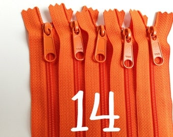 14 inch YKK zippers with long pull, FIVE pcs, orange handbag zips, 4.5 mm coil, YKK flame color 849, great for purses, gadget cases