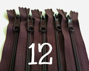 SALE, 12 inch YKK handbag zippers, long pull, five pcs, 4.5 mm nylon coil, dark brown, YKK color 570, great for handbags, gadget cases, bags