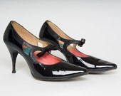 Authentic Vintage 50s Black Genuine Patent Leather Custom Mr. Charles Pin Up Girl Bettie Page Sexy Shoes Heels / NEW YEARS SHOES (sz 6.5)