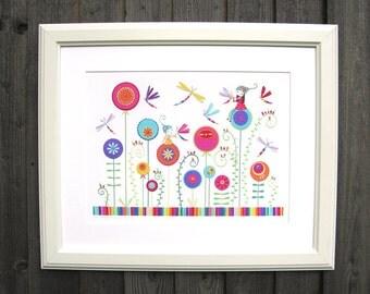 The Dragonfly Garden - A3 Fine Art Print