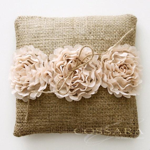 Shabby Chic Burlap Pillows : Rustic / Shabby Chic Burlap Ring Pillow with Ciffon Flower