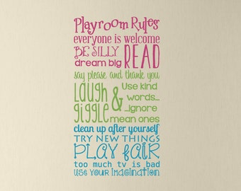 Playroom Rules Vinyl Decal - Children Playroom Decal - Boy Girl Kids Room