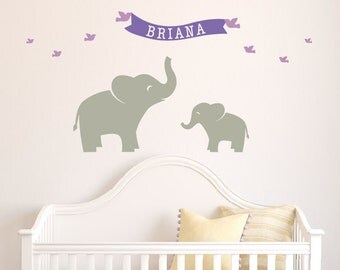 Baby Name Decal, Elephant Nursery Decor, Childrens Wall Decal, Safari Nursery, Kids Wall Stickers