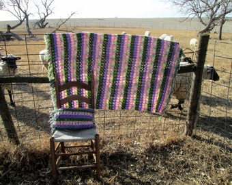 Vintage Afghan Crochet With pillow and Fringe Pastels Purple pink green yellow