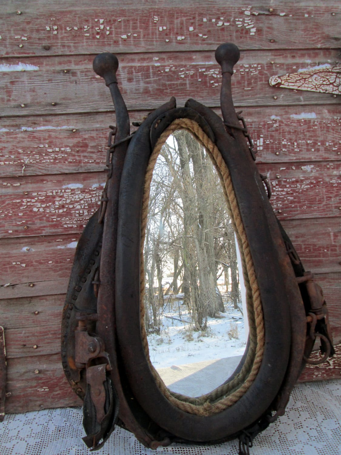 Antique Vintage Horse Collar Mirror Horse Hames Rusty And