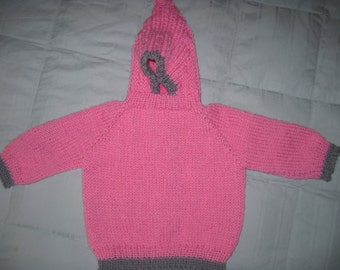 Hand Knit Hooded Sweater Zip Up The Back Hoodie - Size 6 - 12 Mths Pink  Gray Trim Machine Wash  Wool  Free Us Shipping
