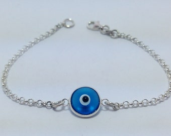 Evil eye bracelet blue transparent in sterling silver