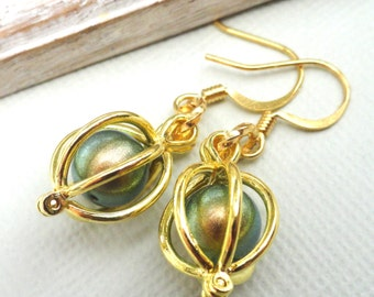 Gold Cage Earrings,  Choose Your Color Swarovski Pearl
