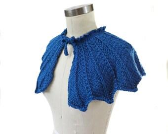 Ocean Blue Wedding Capelet - Hand Knit - Bridal Capelet - Something Blue