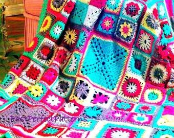 INSTANT DOWNLOAD PDF Vintage Crochet Pattern for Granny Square Patchwork Garden Afghan Throw Blanket  Retro