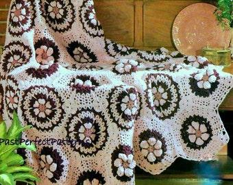 INSTANT DOWNLOAD PDF Vintage Crochet Pattern for Granny Hexagon Wildflower Afghan Throw Blanket  Retro