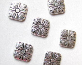 Silver focal Beads, Silver  charms, Silver findings,  Designs both sides,Square Beads, 1 lot of 8 Pieces Item #1012