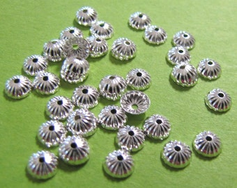 Ribbed Bead Cap, 5mm end caps, silver plated bead caps, 100 pieces, fits 5 mm to 7 mm beads, Components, Supplies, Findings,  Item #1067